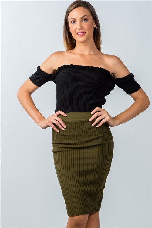Smoky Knee Skirt Ribbed Knit Bodycon Silhouette Siin Bees
