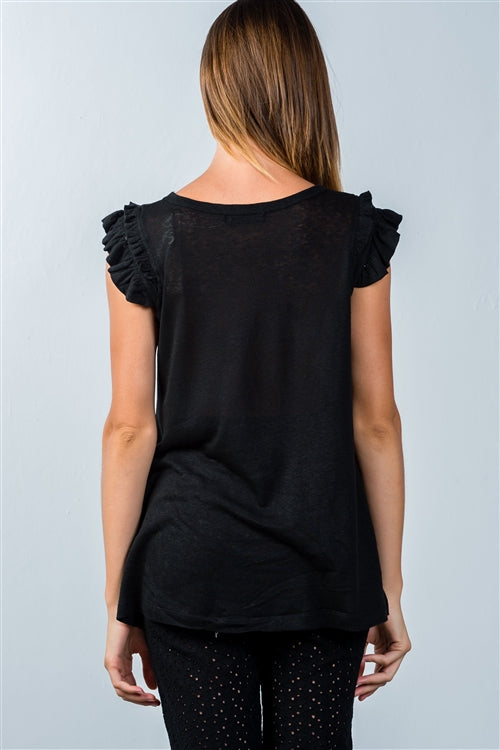Black Ruffle Cap Relaxed Fit Top - Siin Bees