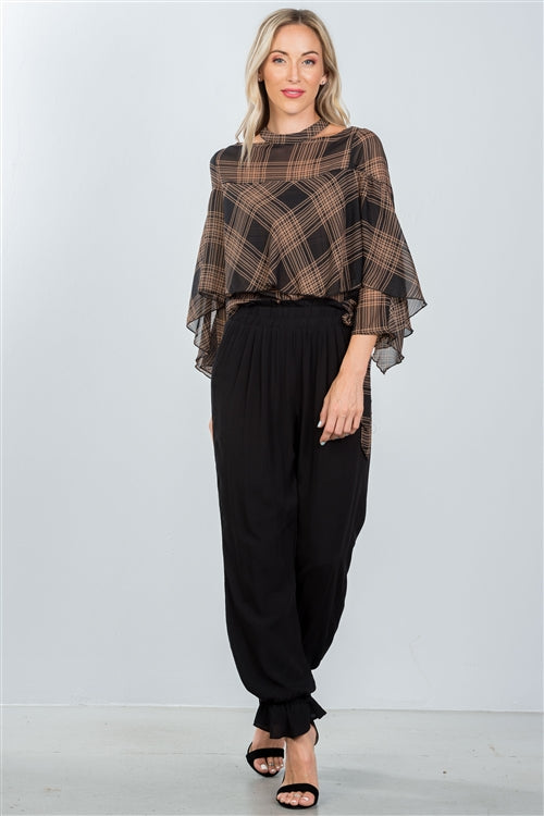Black High Waist And Frill Hem Pants Siin Bees
