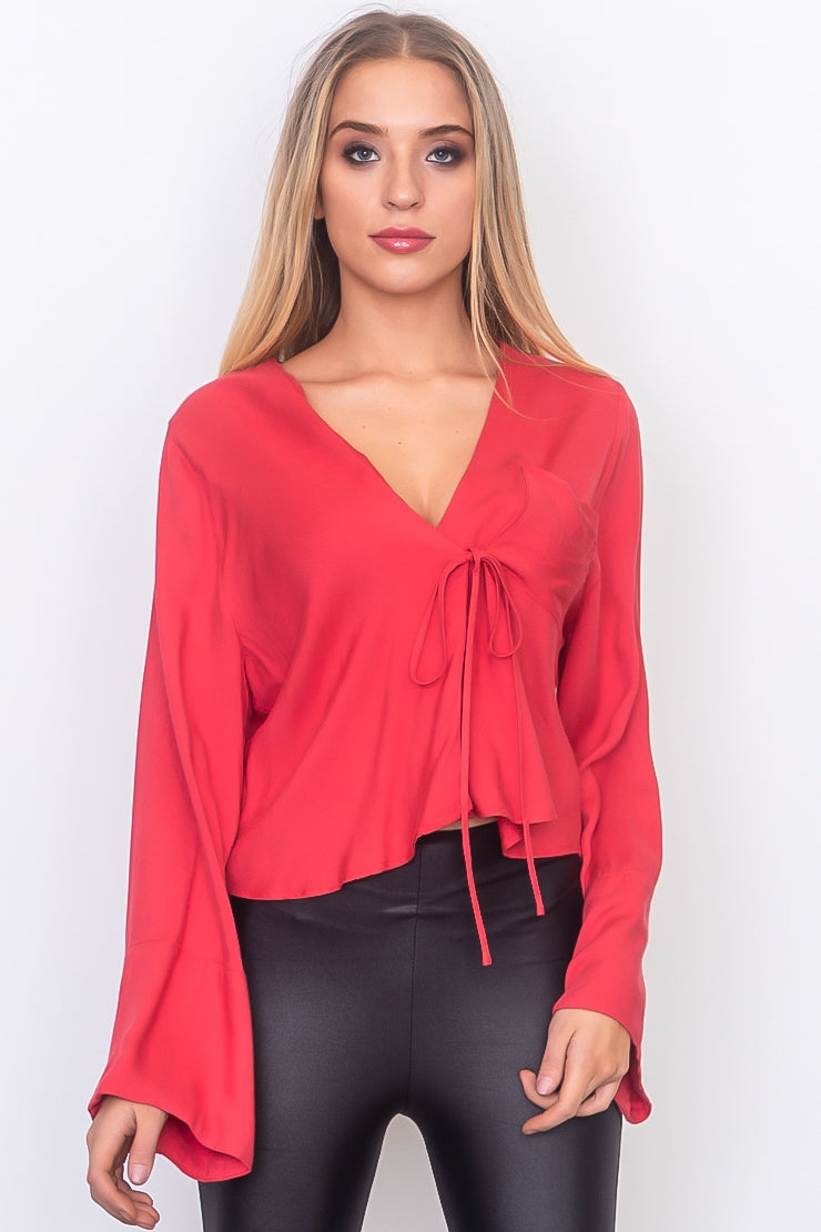 Berry Red Tie Front Bell Sleeve Blouse Siin Bees