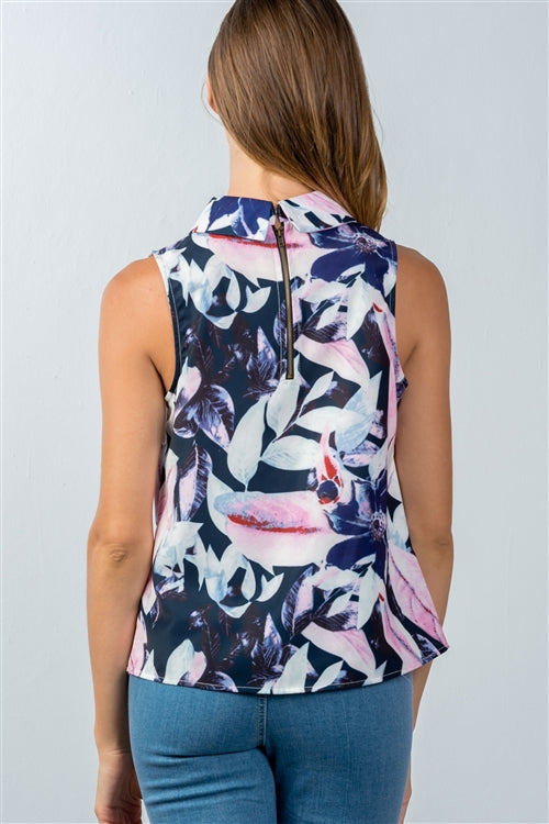 Navy Blue Pink Floral High Neckline Tank Top - Siin Bees