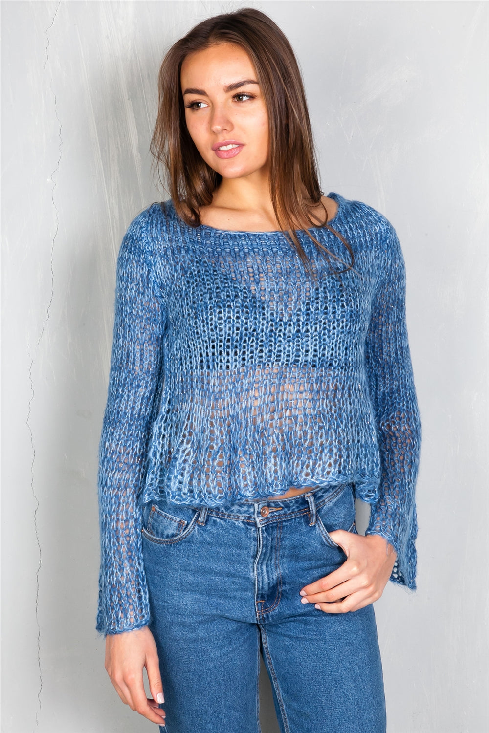 Trendy Hole Knitted Crop Top Sweater Siin Bees