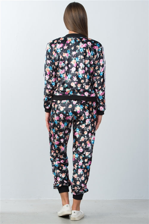 Velvet Black and Pink Floral Tracksuit Siin Bees
