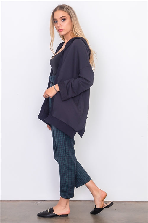 Navy French Terry Hoodie Cardigan - Siin Bees