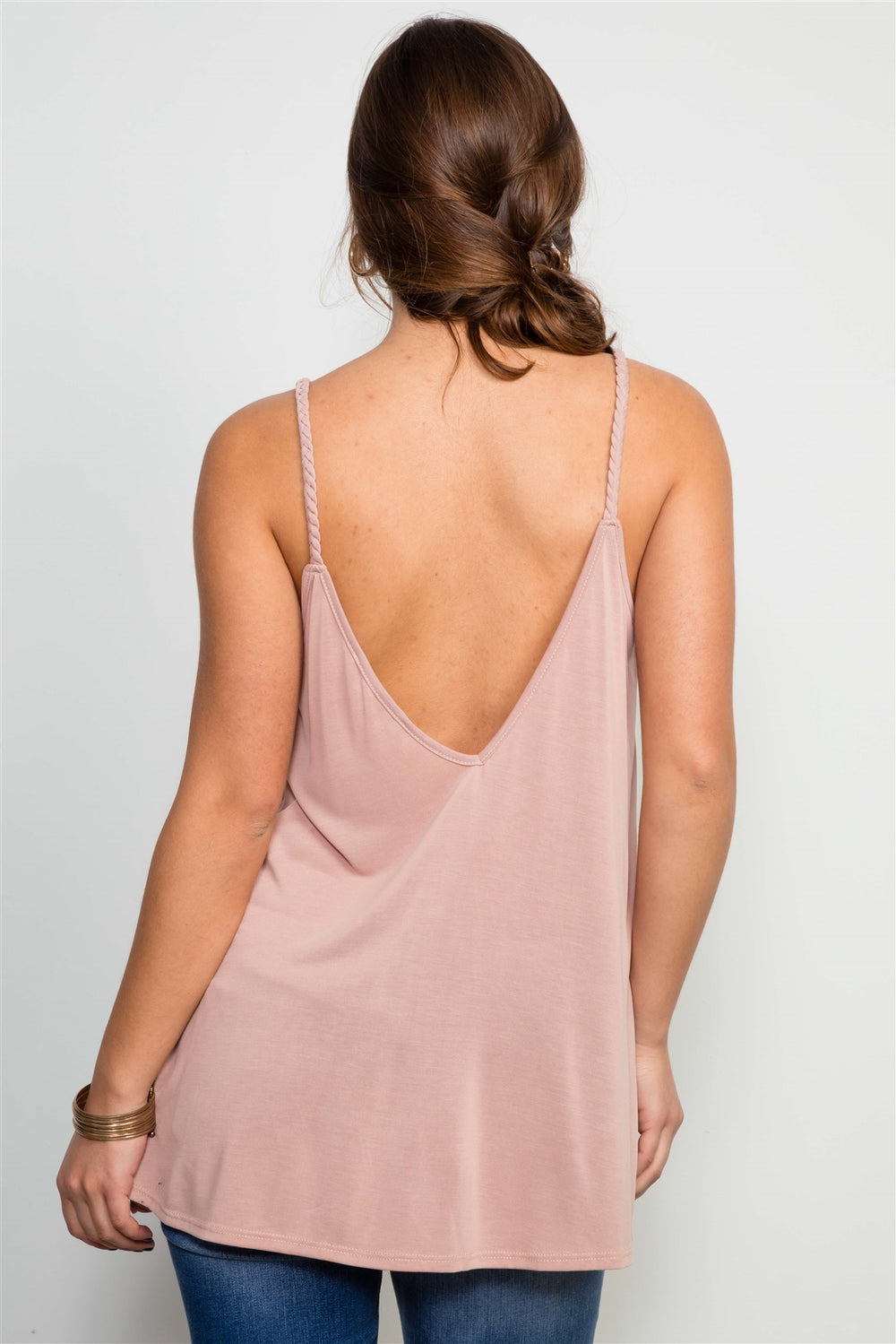 Mauve Soft Solid Braided Strap Tank Top - Siin Bees
