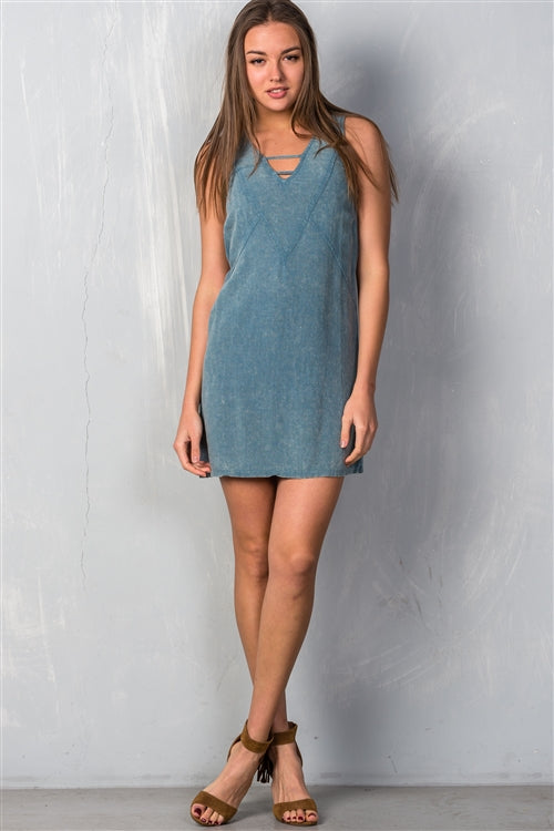 Summer Teal Denim Dress - Washed Siin Bees