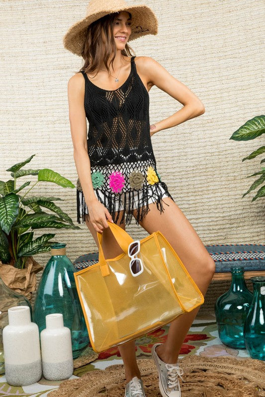 Sleeveless Bottom Fringe Detail Crochet Knit TOP Siin Bees