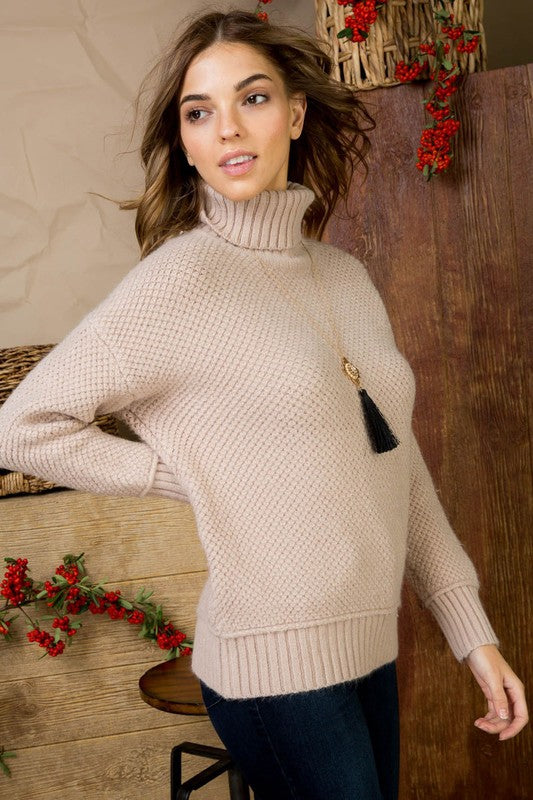 Mauve Solid Cable Knit Turtle Neck Long Sleeve Sweater Siin Bees