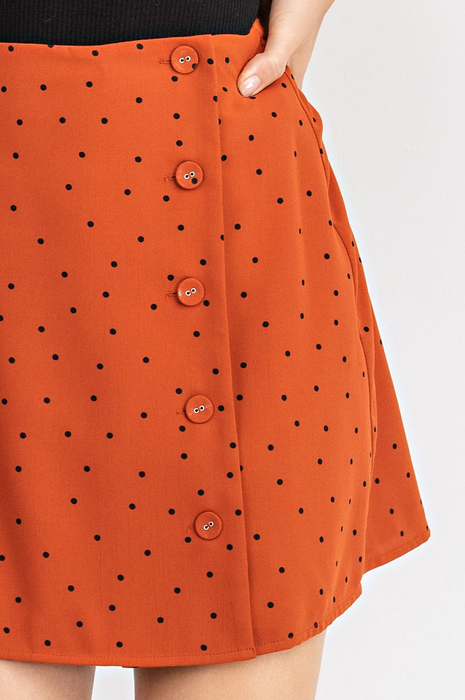 Wrapped Button Down Mini Skirt Siin Bees