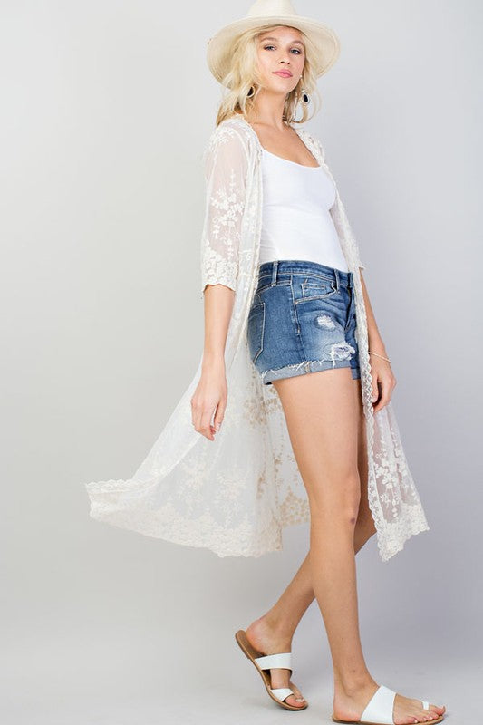 Natural Allover Lace Front Self Tie Kimono Siin Bees