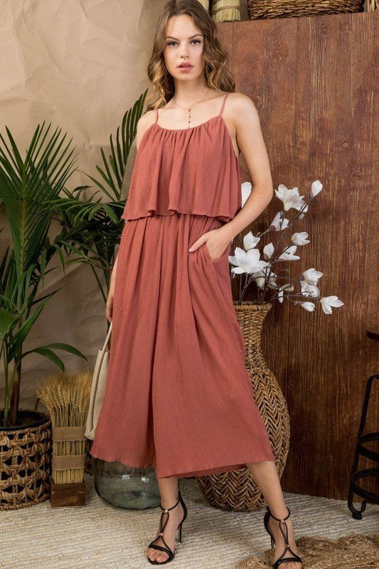 Maya Front Ruffle Top Side Pocket Waist Elastic Winkled Fabric Jumpsuit Siin Bees
