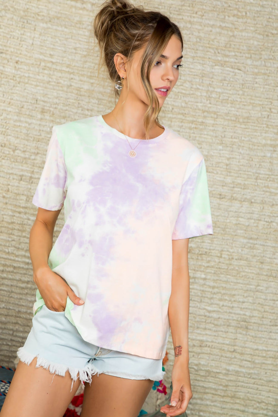 Round Neck Short Sleeve Multi Color Tie Dye Knit Top Siin Bees
