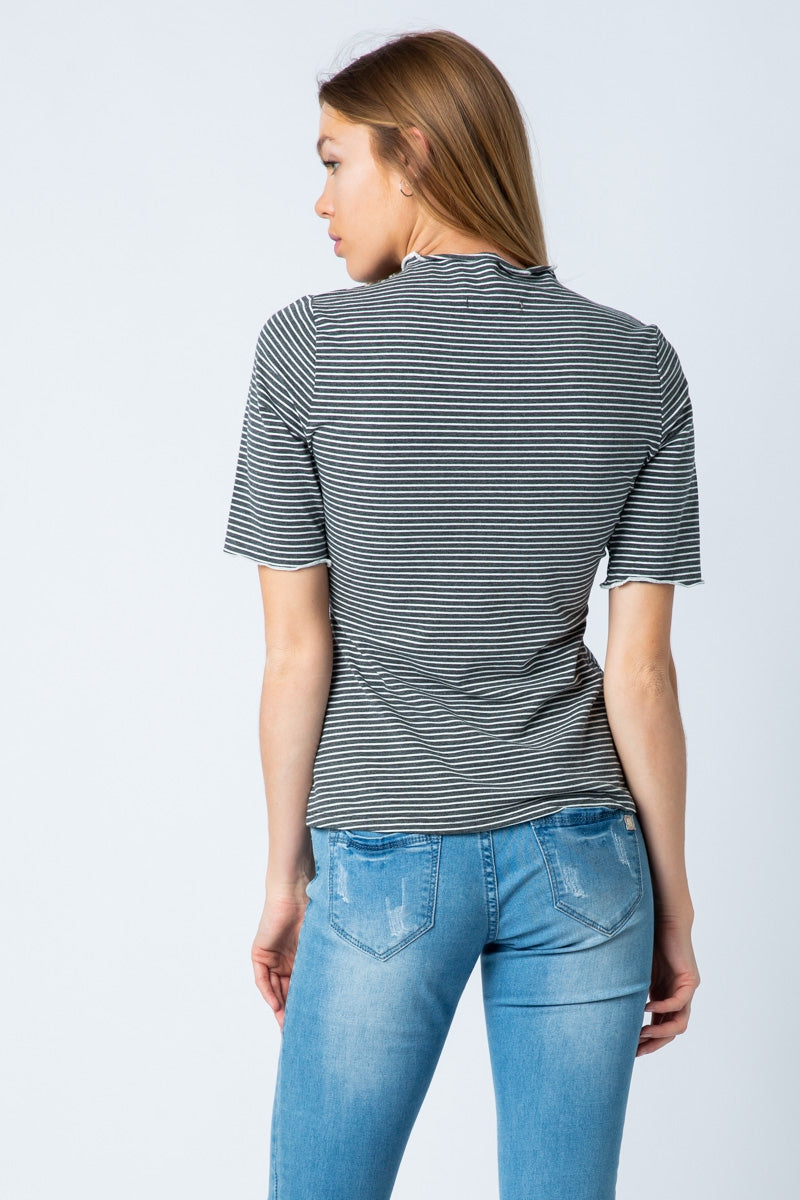 Charcoal Short Sleeve Stripe Top Mock Neck Siin Bees