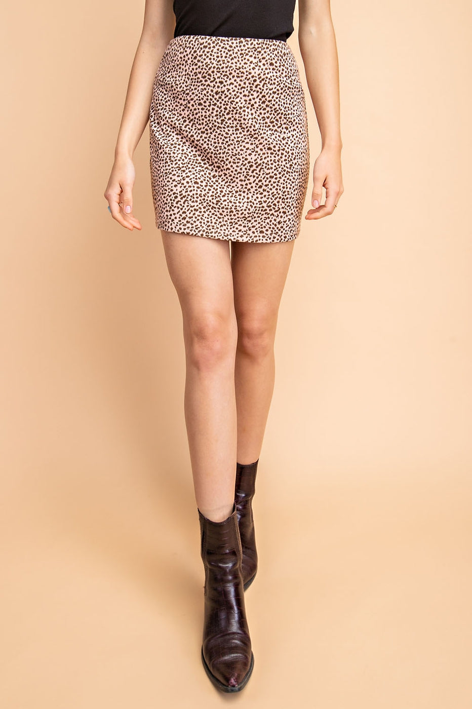 Animal Print Knit Mini Skirt In Pink Siin Bees