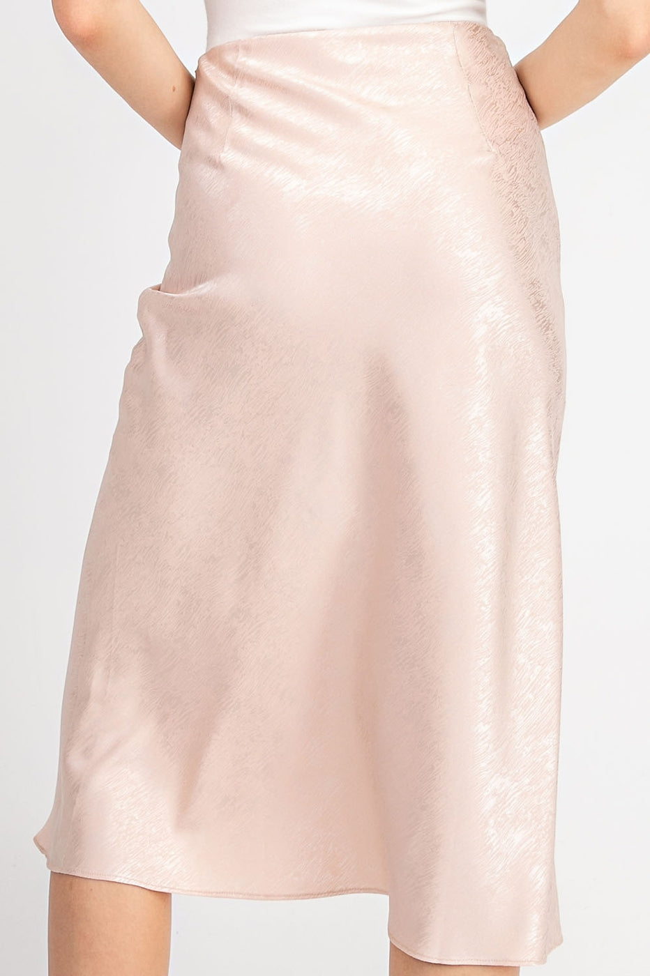 High Waist Midi Skirt With Back Zipper In Light Peach Siin Bees