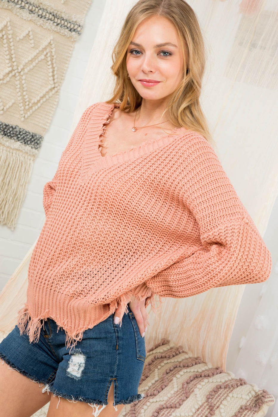 Terra Cotta Sweater With Frayed V Neck Siin Bees