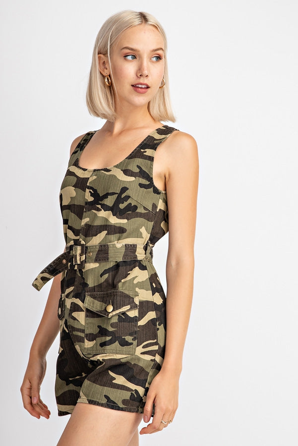 Camoflauge Printed Belted Sleeveless Romper Siin Bees