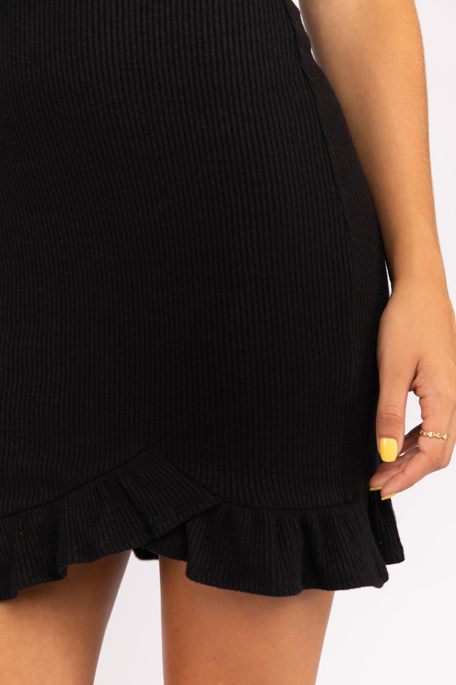 Sweater Ribbed Knit Ruffled Mini Dress Siin Bees