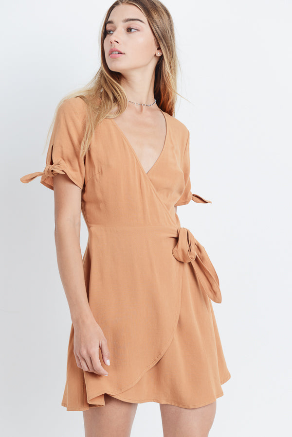 Tie Sleeve Wrap Dress Siin Bees