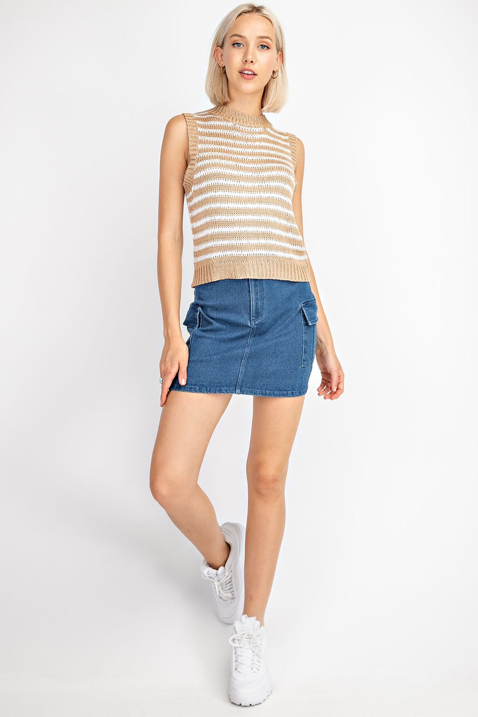 Sleeveless Striped Mock Neck Top Siin Bees