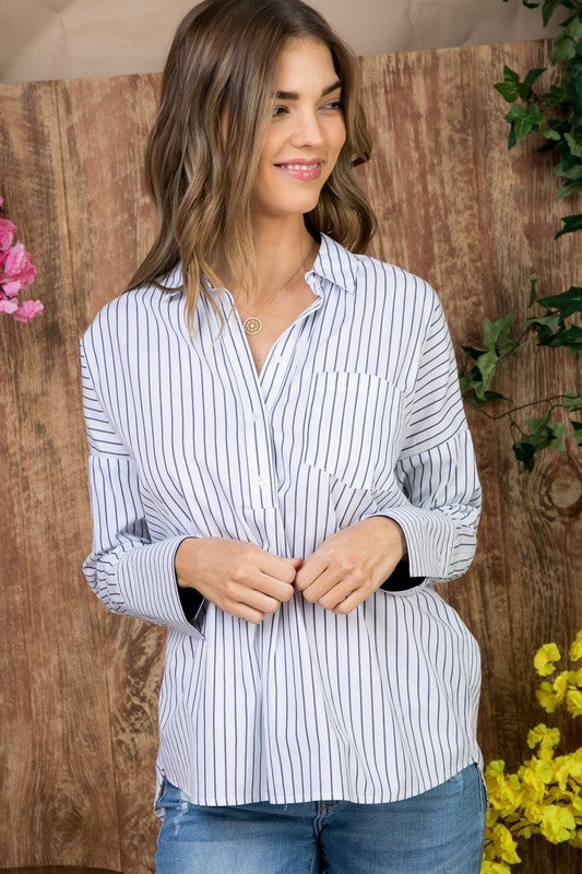 White/Navy Stripe Simple Hi Low Blouse With Color Block Cuff Accent Siin Bees