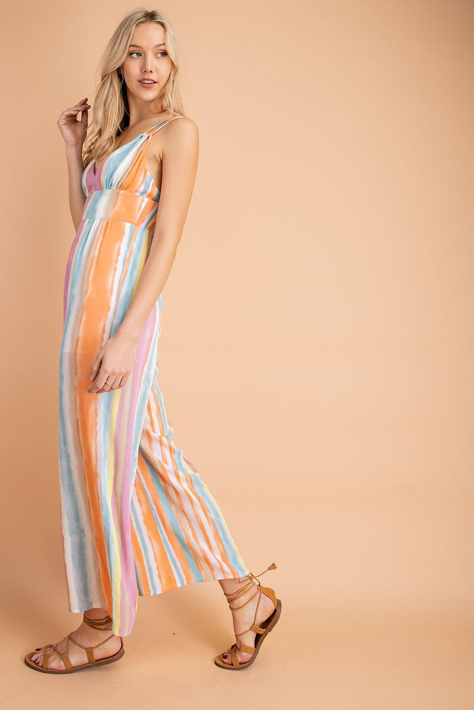 Liliana Jumpsuit With V-neck Multi Color Stripe Goddess in Purple-Orange Siin Bees