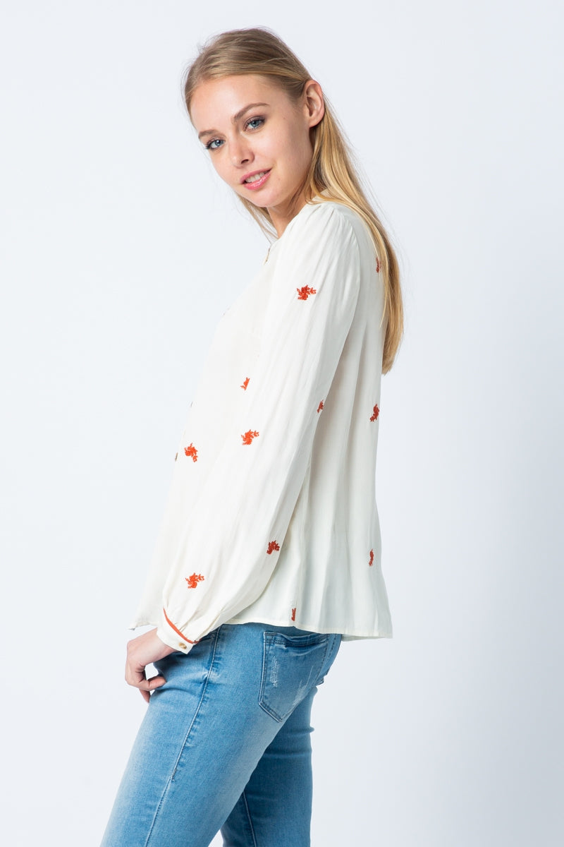 Summer Embroidery Long Sleeve Blouse Crew Neck With Button Up Siin Bees