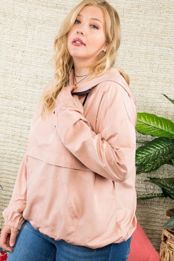 Mauve Plus Size Solid Pullover Windbreaker Siin Bees