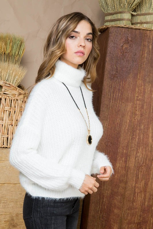 Ivory Sweater with Solid Cowl Neck Fur Long Sleeve Siin Bees