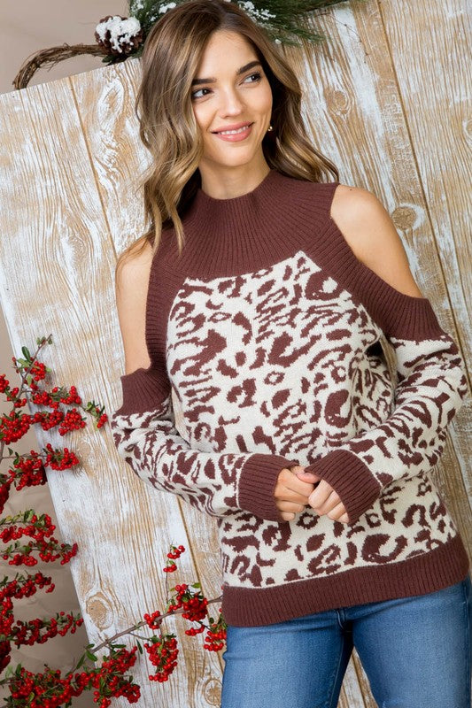 Brown Sweater With Mock Neck Cold Shoulder Long Sleeve Leopard Print Siin Bees