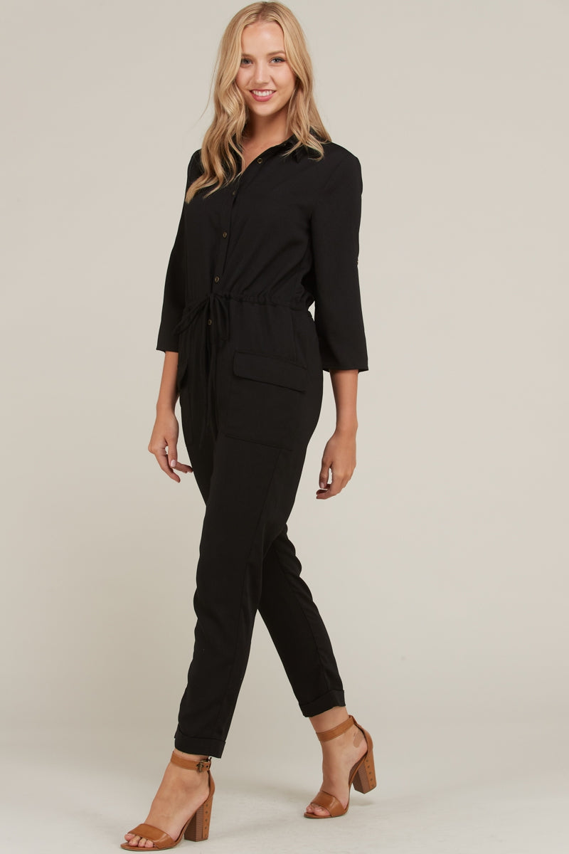 Sofia Jumpsuit Button Down Drawstring In Black Siin Bees