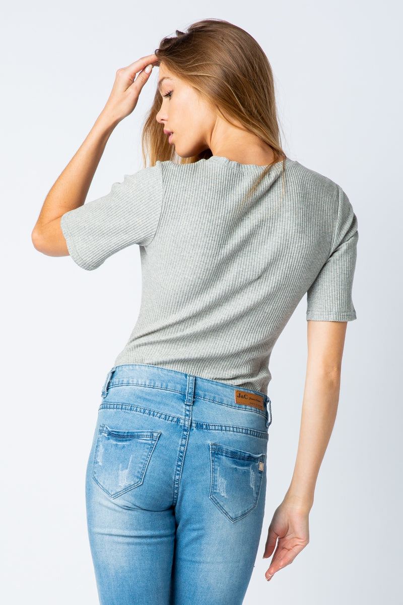 Grey Short Sleeve Crew Neck Bodysuit With Two Snap Button Siin Bees