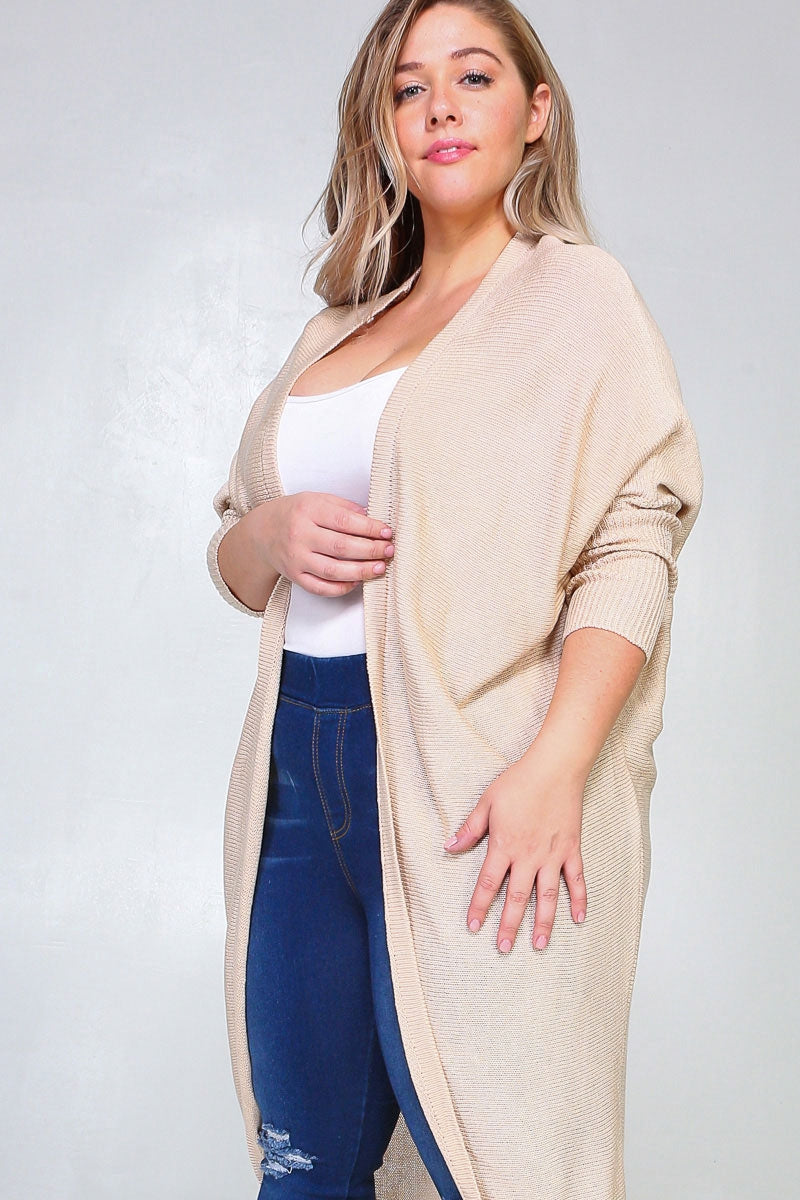 Natural Knit Long Open Dolman Cardigan With Ribbed Sleeves Siin Bees