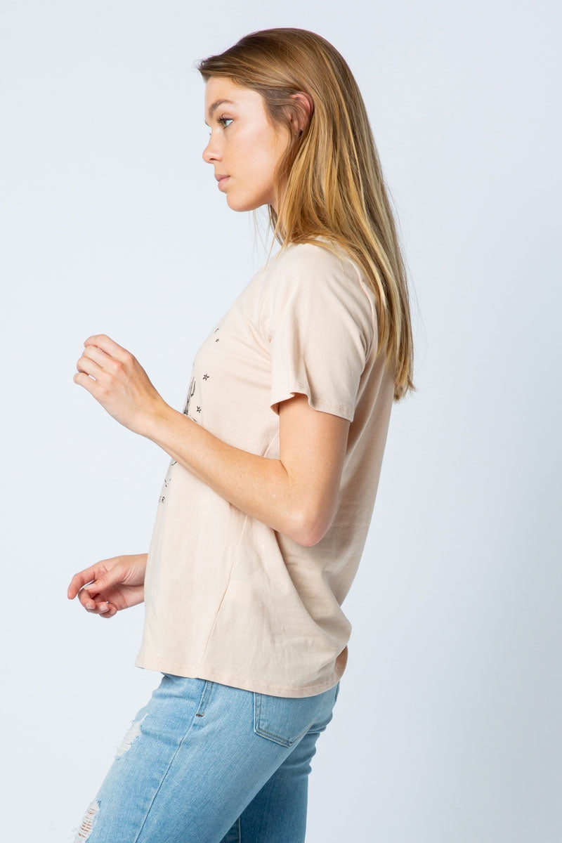 Short Sleeve Taupe T-Shirt With Desert Vibes Printed Siin Bees
