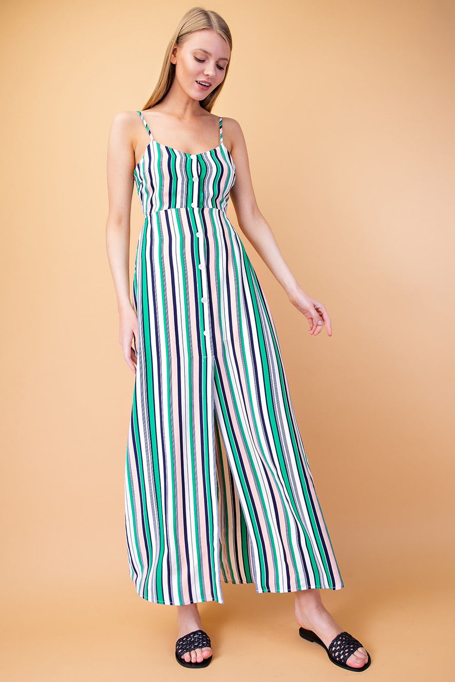 Button Down Stripe Maxi Dress With Open Back In Green-Multi Siin Bees