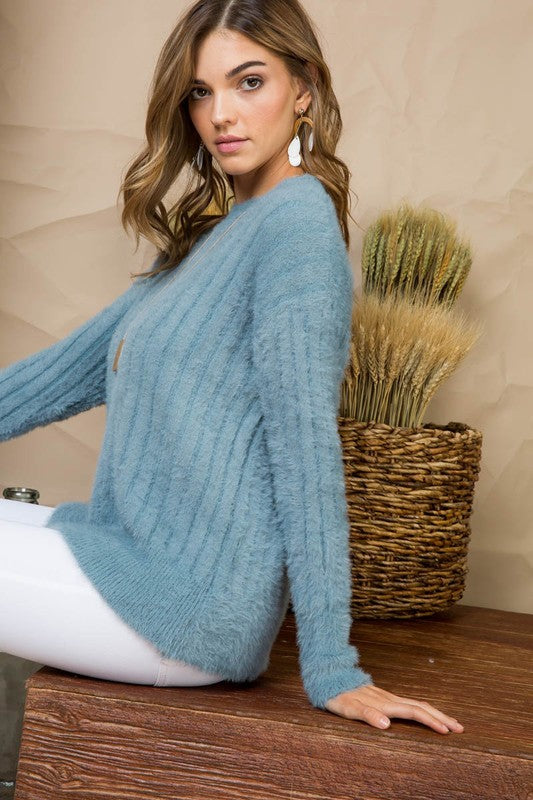Sage Crew Neck Long Sleeve Ribbed Tunic Sweater Siin Bees