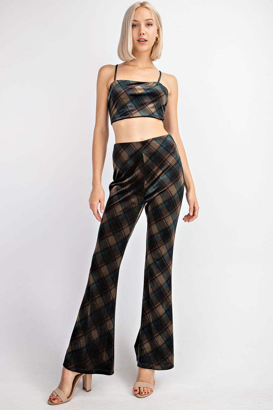 High Waisted Velvet Flared Pants Siin Bees