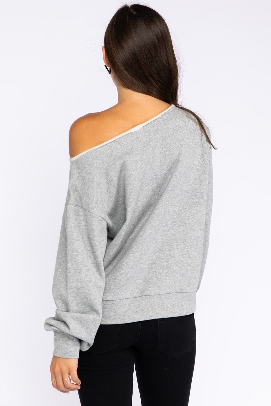 Carpe Diem Boat Neck French Terry Sweatshirt In Grey Siin Bees