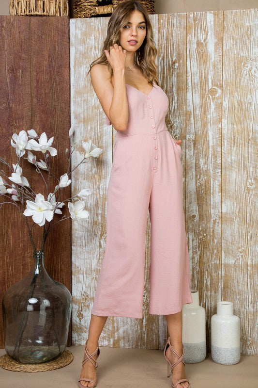 Delilah Jumpsuit With Front button down, pocketed pants Back tie Hidden Back zipper Siin Bees