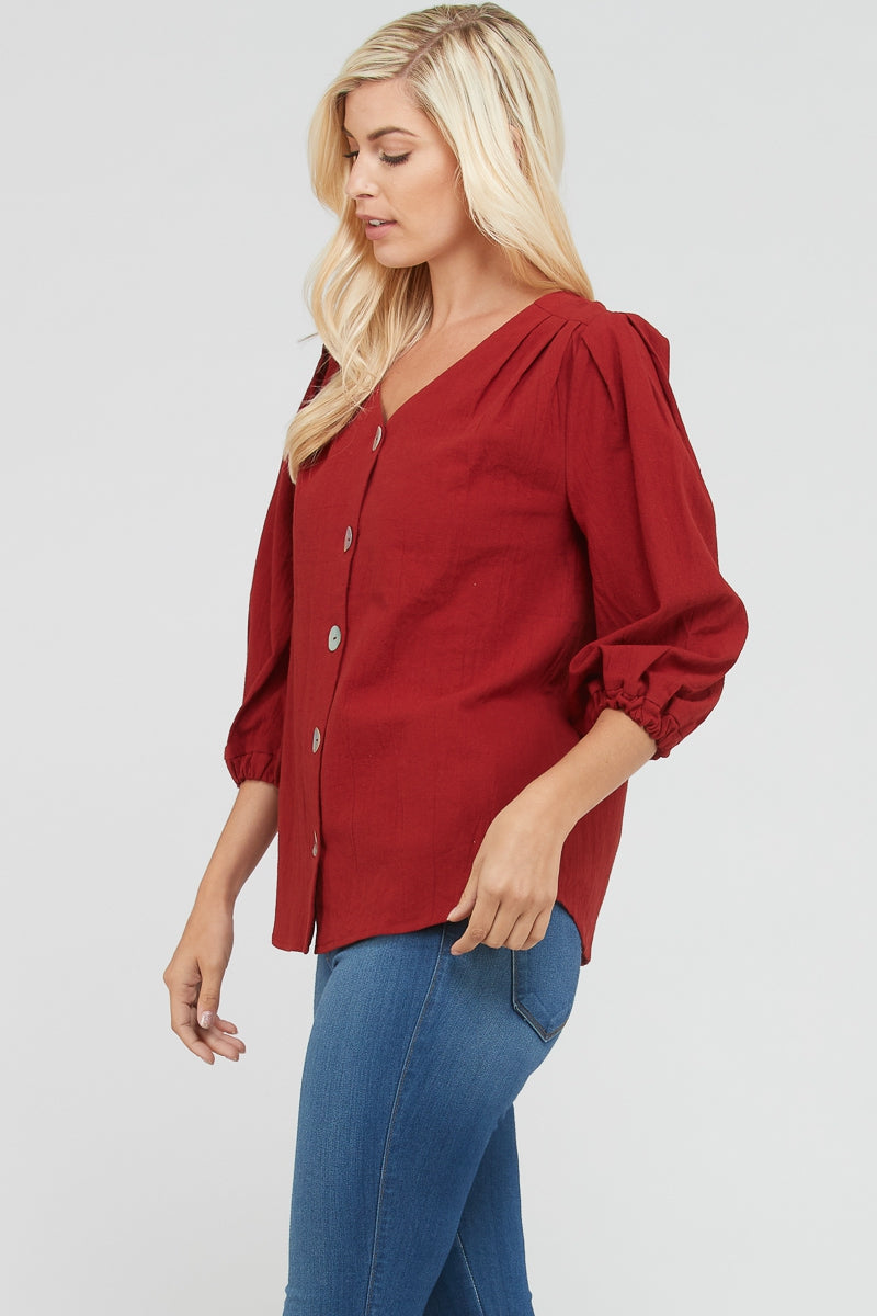 3/4 Sleeve Rust Top Shell Button Down Detail Siin Bees