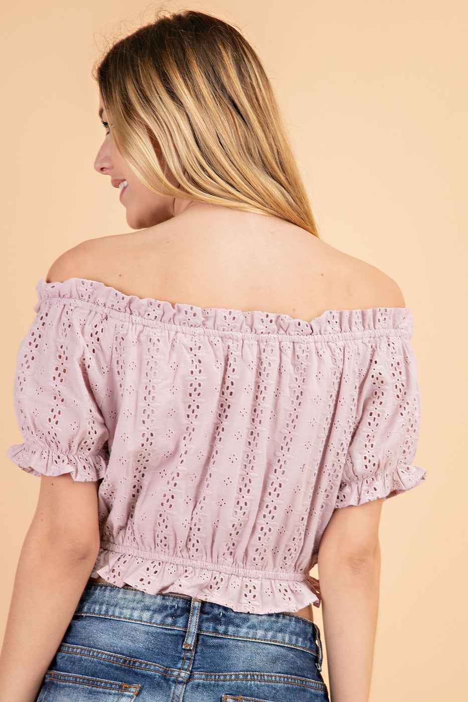 Eyelet Off Shoulder Front Tie Top In Lavender Siin Bees