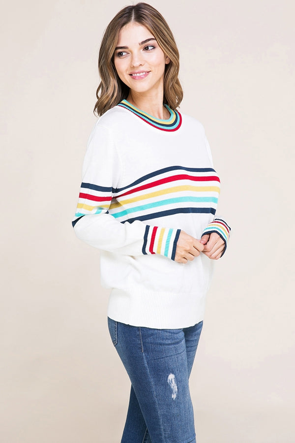Long Sleeve Sweater Multi Color Point Siin Bees