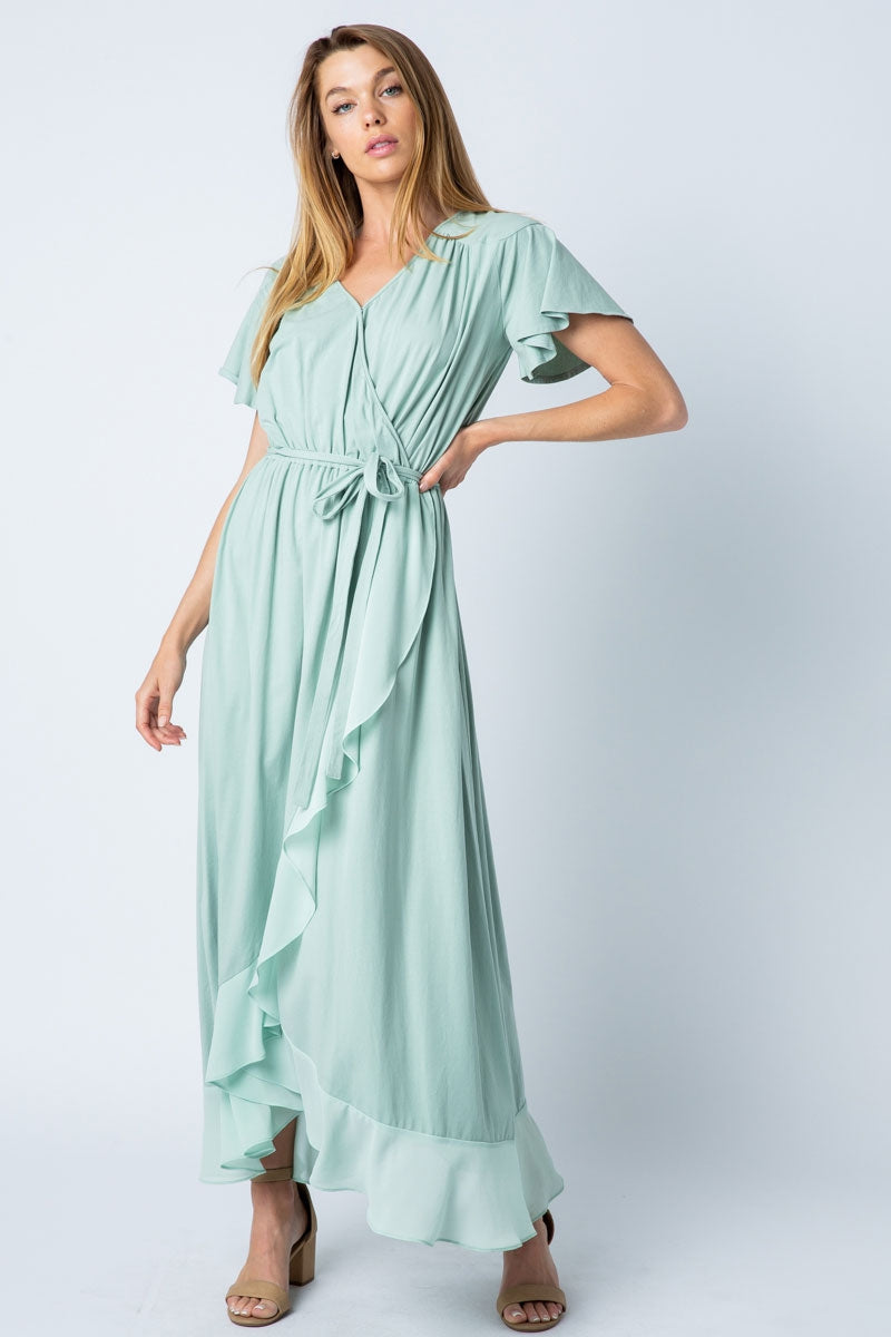 Naomi Maxi Dress Knit High Low With Self Button Siin Bees
