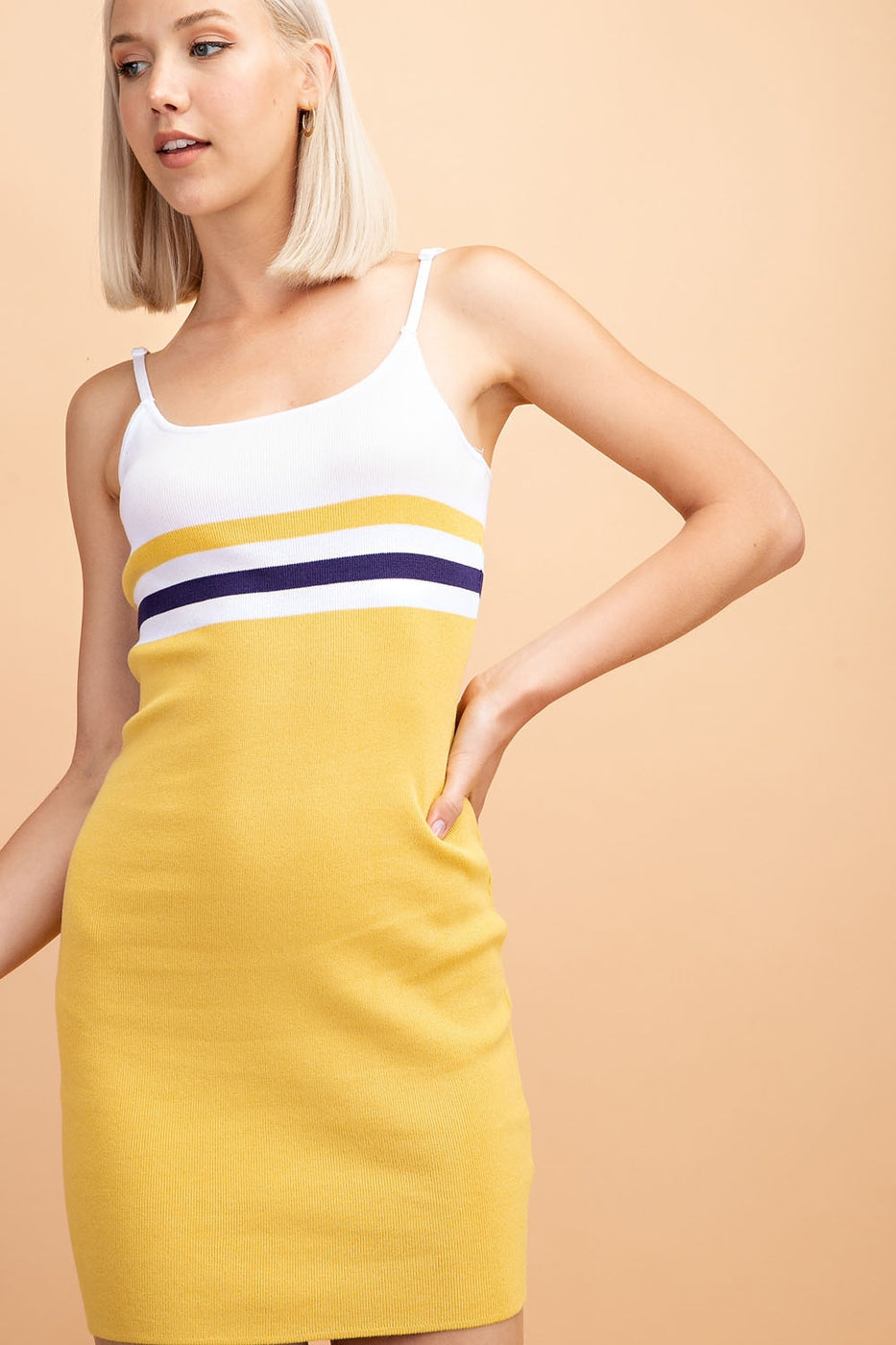 Amelia Dress With Colorblock Spaghetti Strap Bodycon Siin Bees