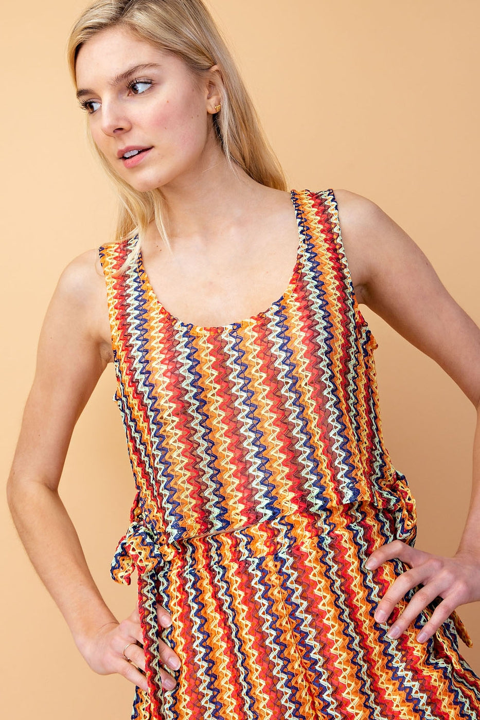 Multi Color Print Side Tie Tank Top Siin Bees
