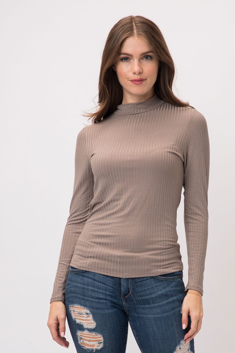 Dark Brown Long Sleeve Light Ribbed Mock Neck Top Siin Bees