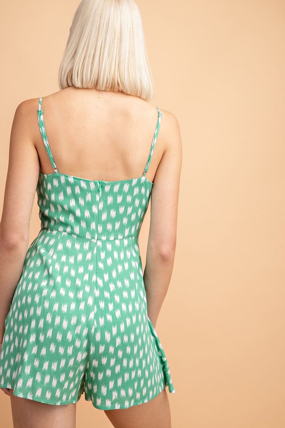 Natalie Square Neck Printed Romper In Green-White - Siin Bees