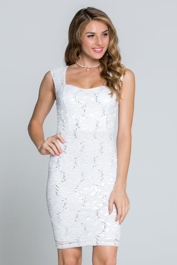Sequin Lace Sleeveless Bodycon Dress - Siin Bees
