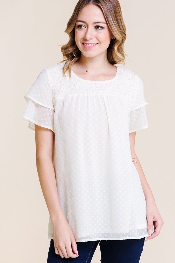 Stylish Short Sleeve Top Swiss Dot In Ivory Siin Bees