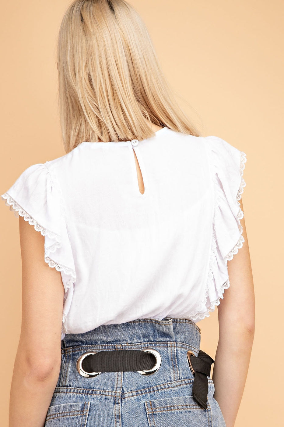 Fashion Lace Trim Detail Top Woven In Off-White Siin Bees